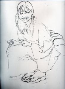 新垣結衣の浴衣姿の鉛筆画似顔絵途中経過