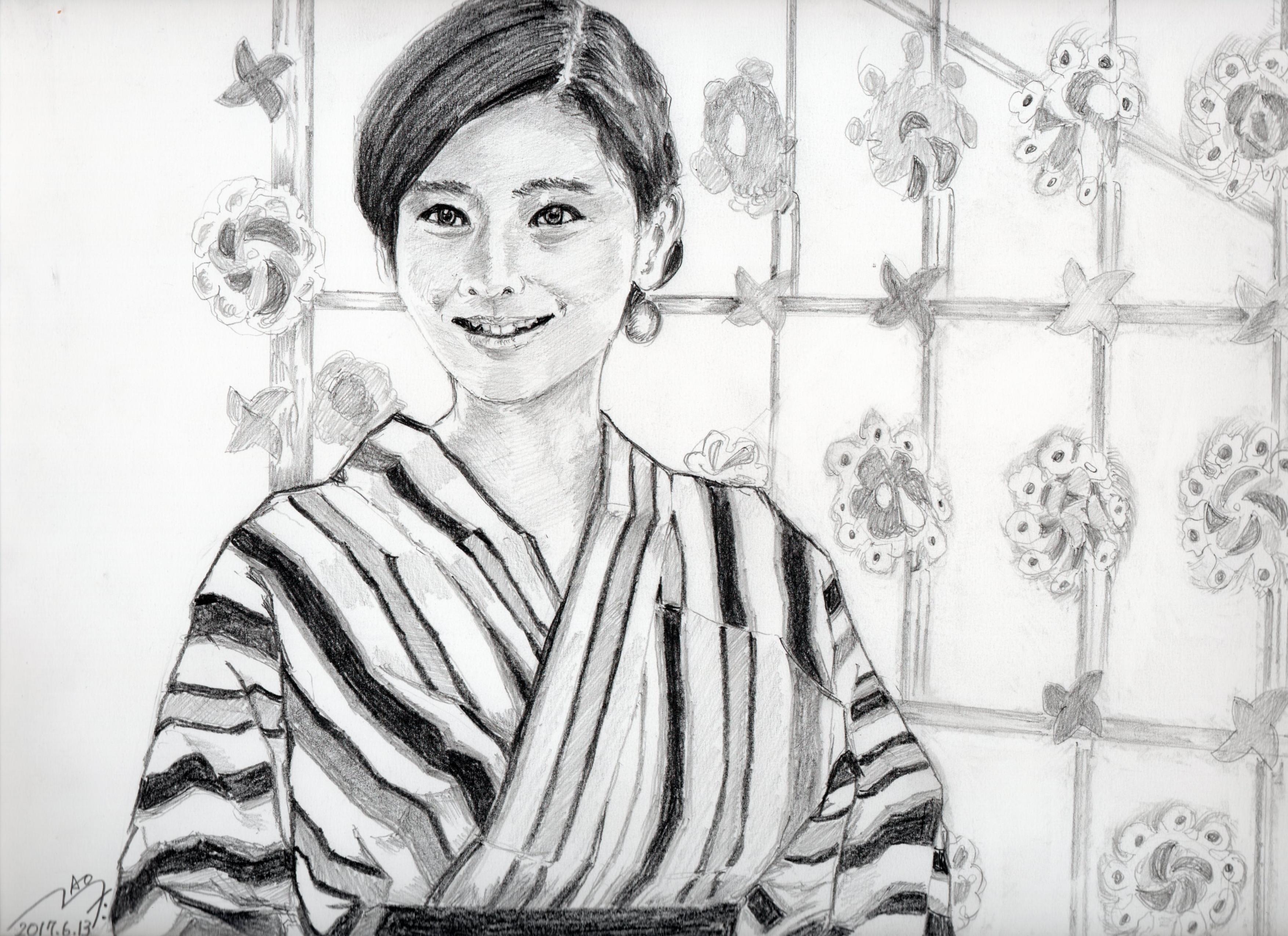 篠原涼子の鉛筆画似顔絵