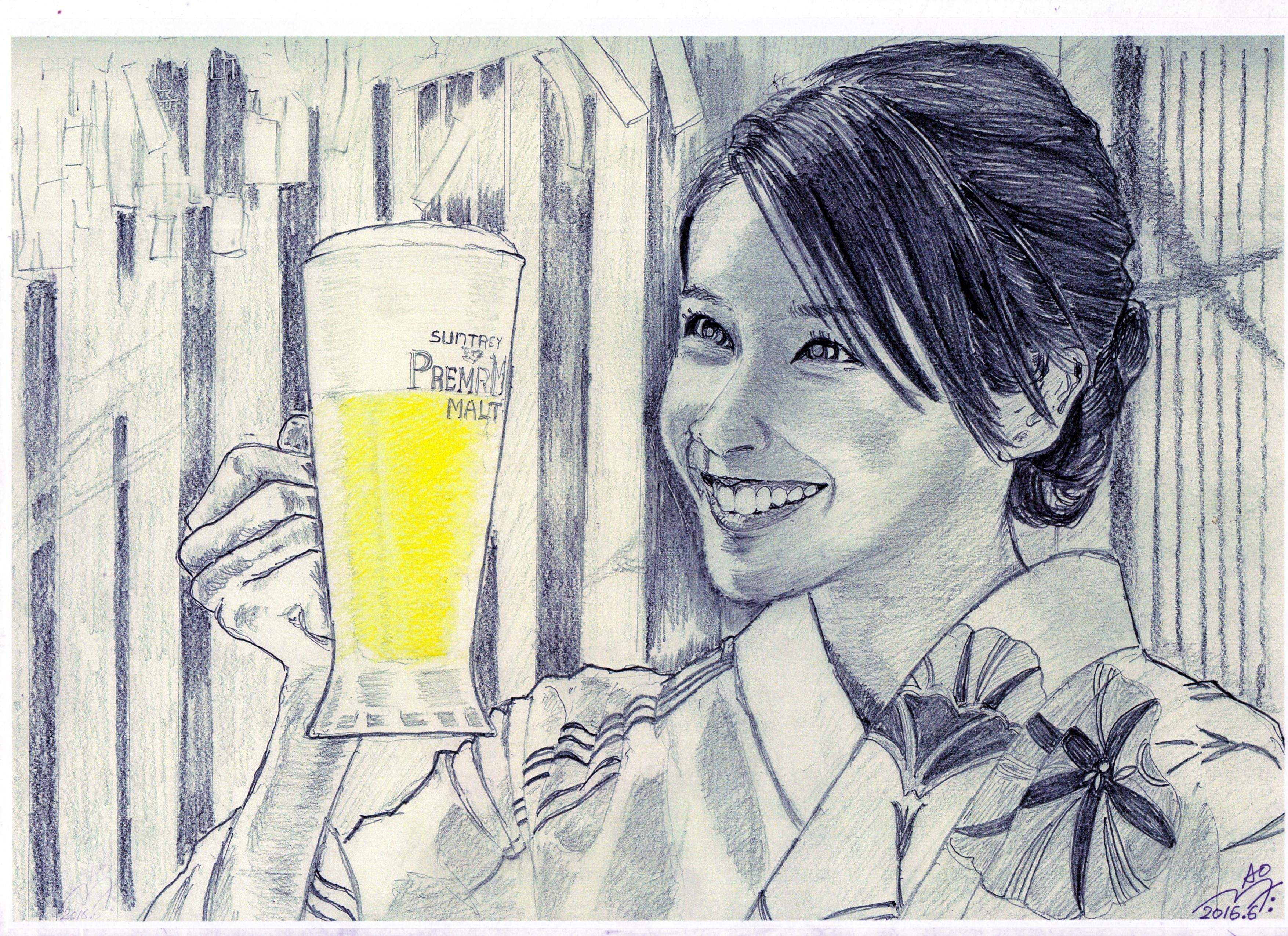竹内結子の鉛筆画似顔絵