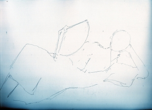 玉木宏の和服姿鉛筆画似顔絵途中経過