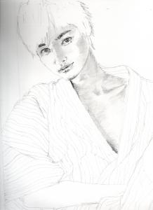 瀬戸康史の浴衣姿鉛筆画似顔絵途中経過