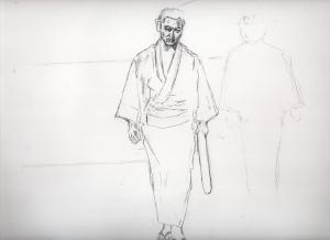 「唐獅子牡丹」高倉健と池辺良の鉛筆画似顔絵途中経過