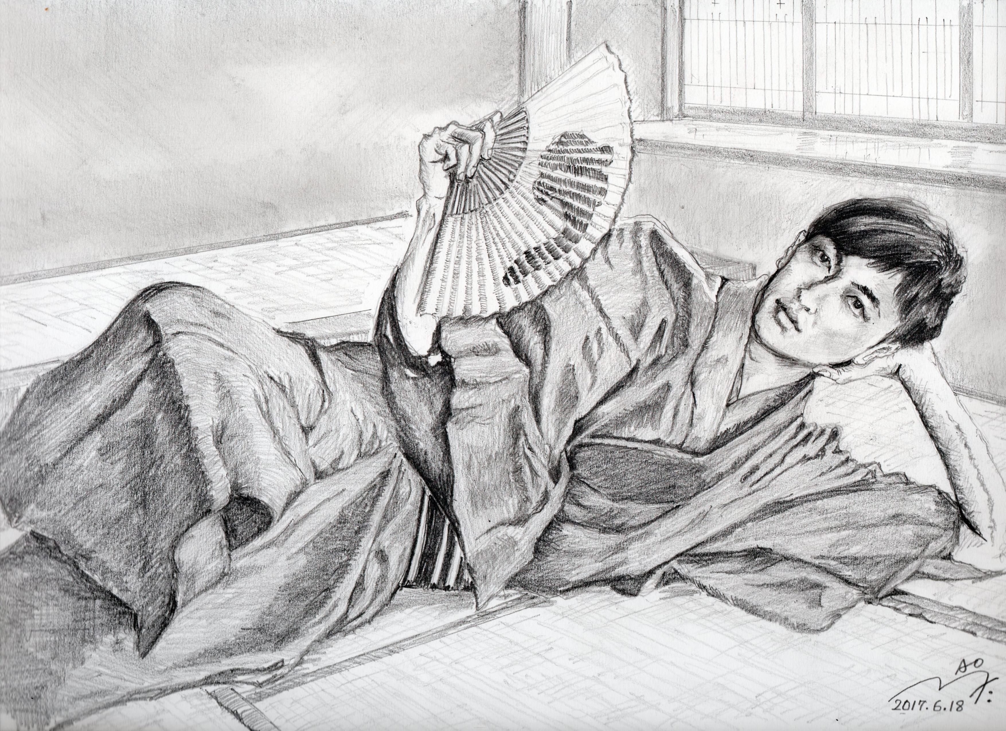 玉木宏の和服姿鉛筆画似顔絵