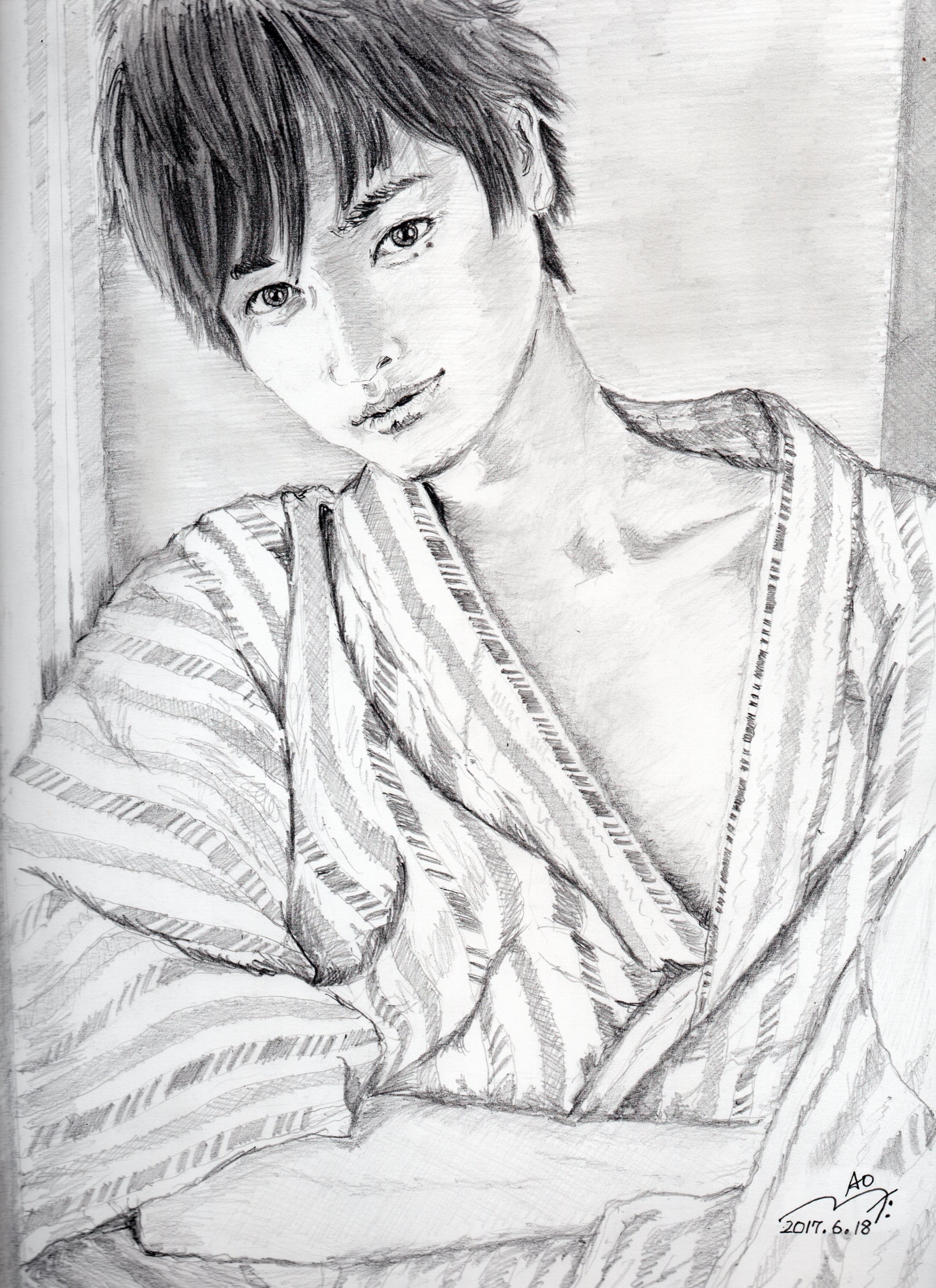 瀬戸康史の浴衣姿鉛筆画似顔絵
