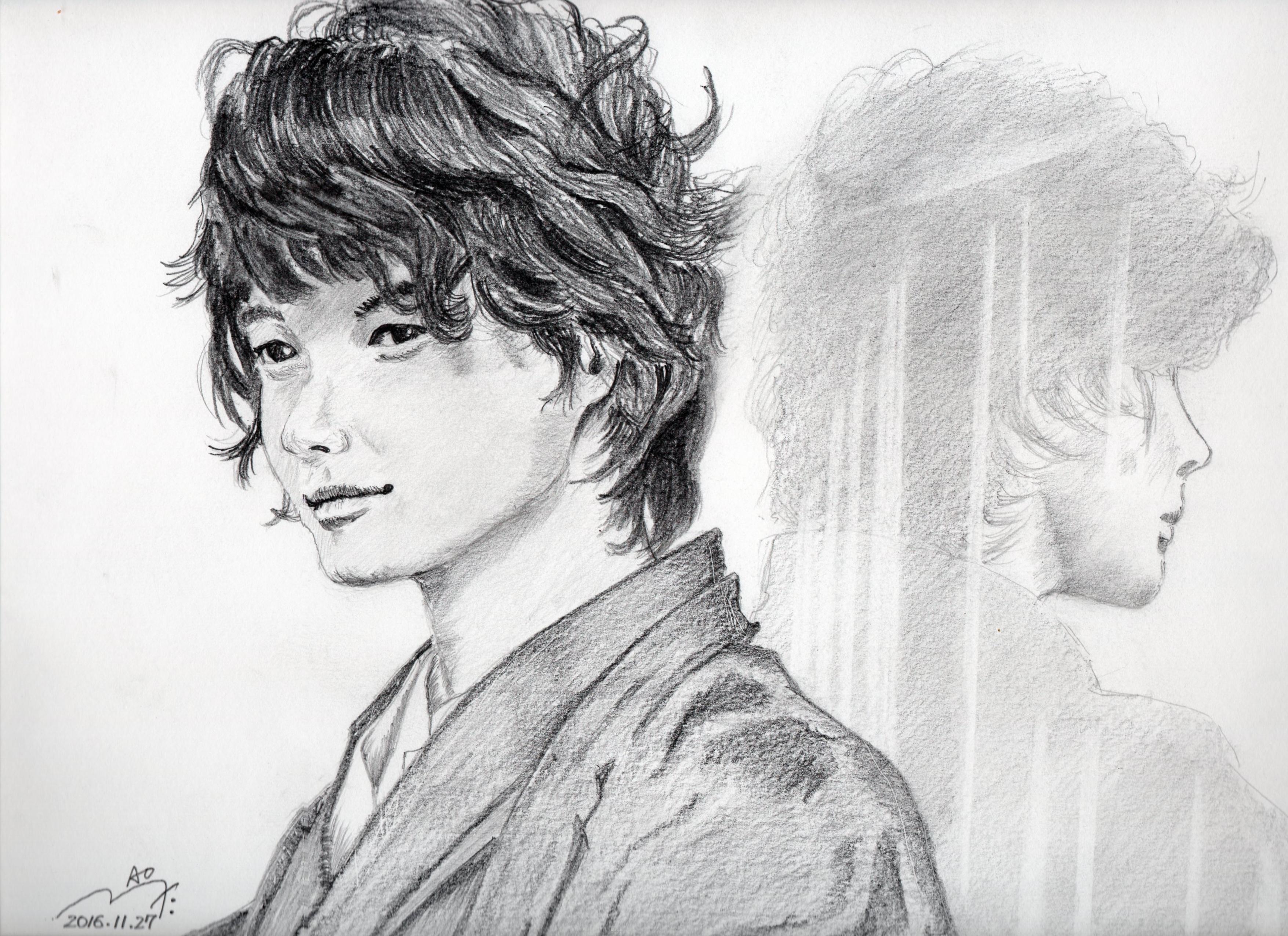 神木隆之介の鉛筆画似顔絵