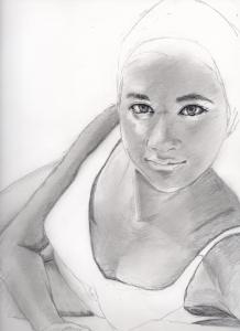 前田美波里さんの鉛筆画似顔絵途中経過