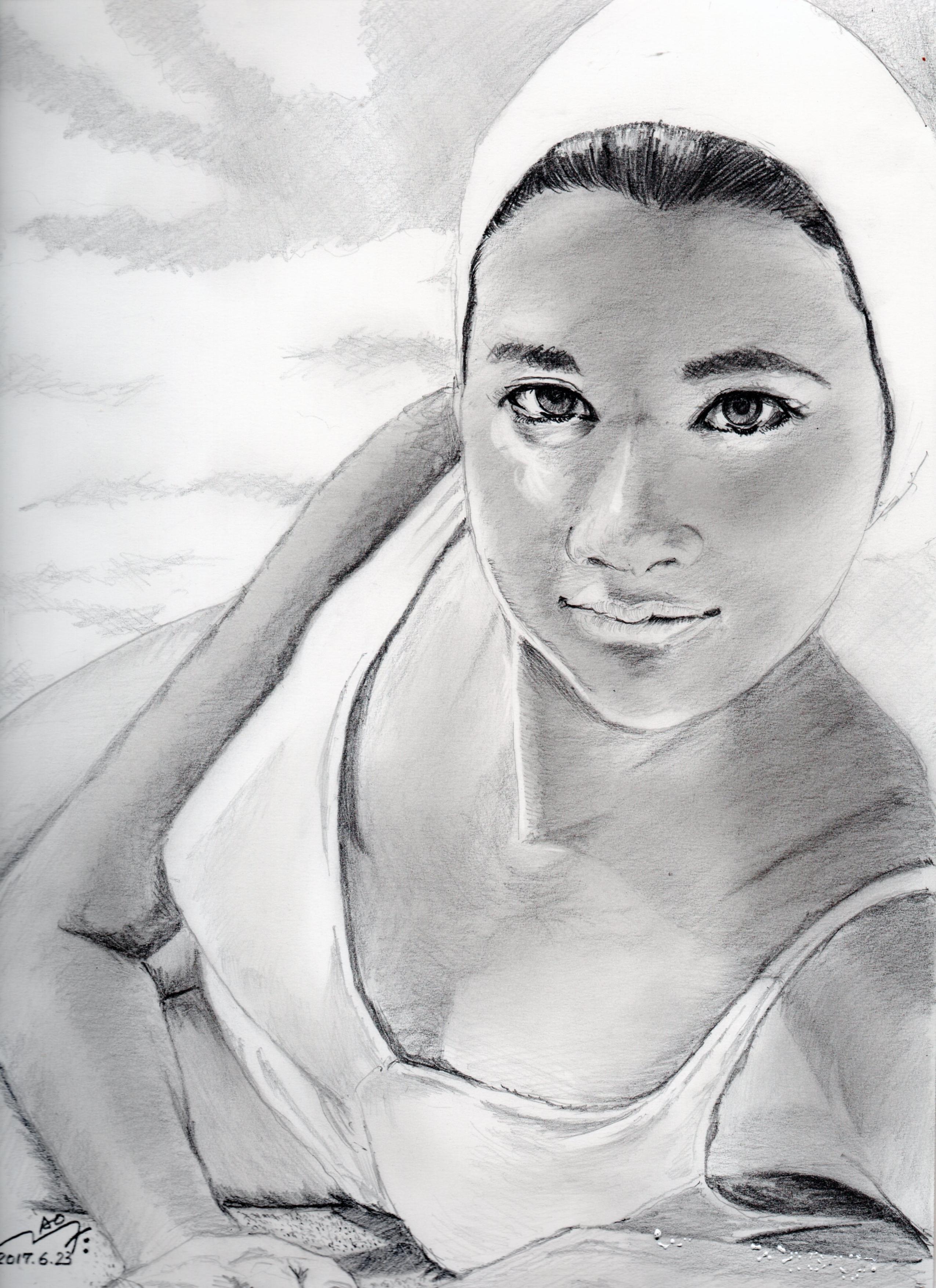 前田美波里さんの鉛筆画似顔絵