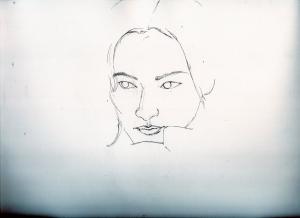 菜々緒の鉛筆画似顔絵途中経過