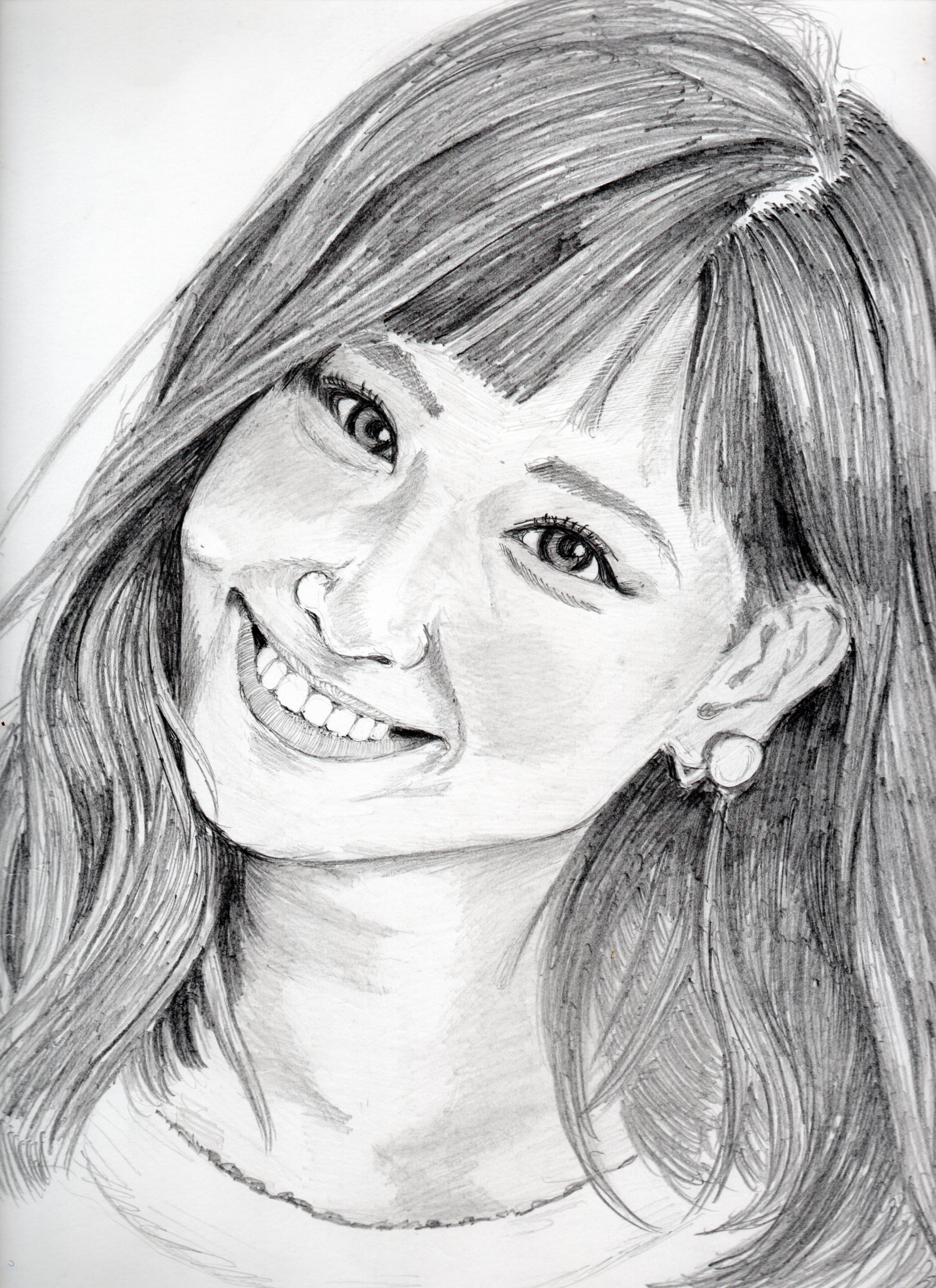 西内まりやの鉛筆画似顔絵