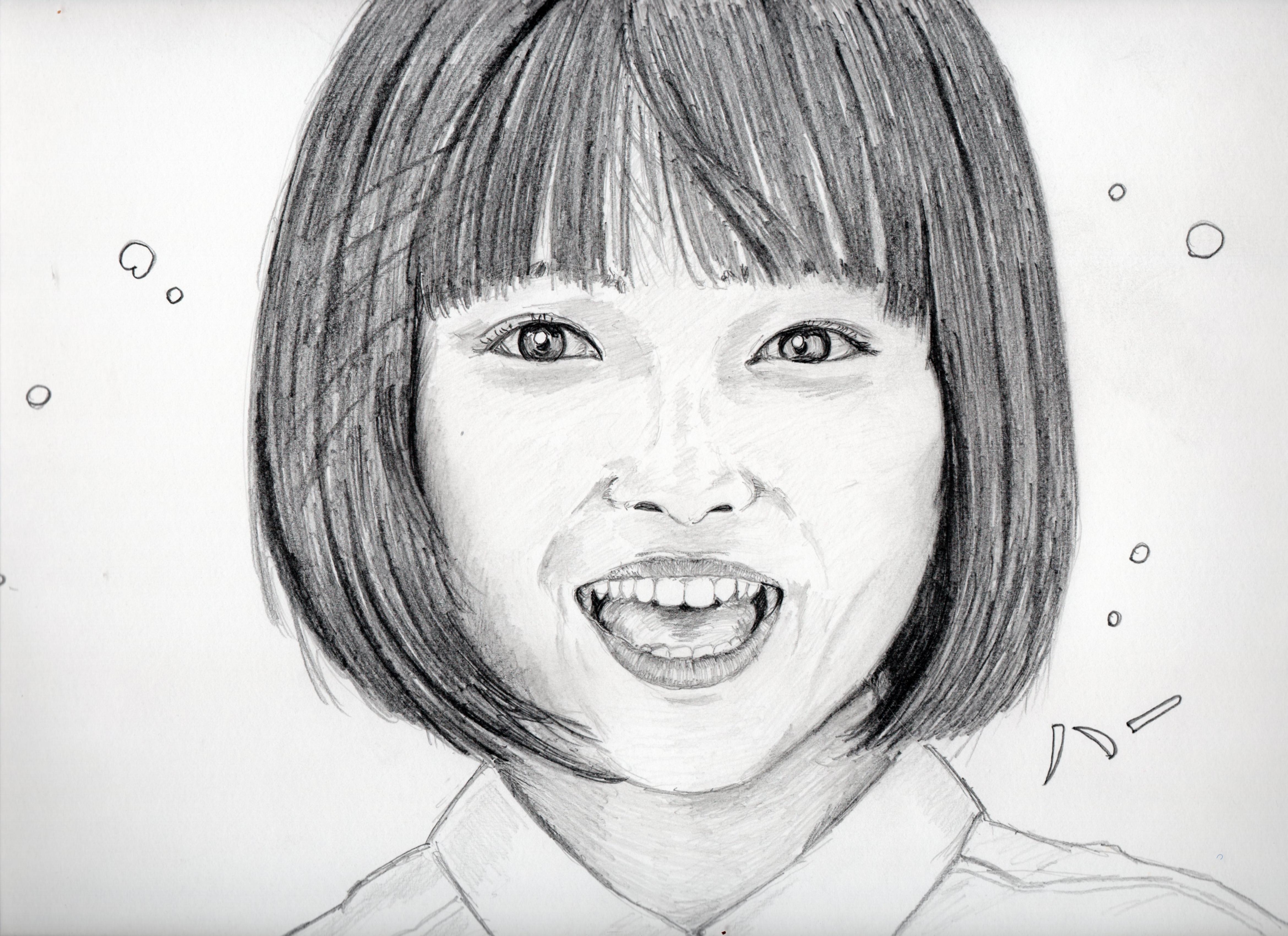 広瀬すずの鉛筆画似顔絵
