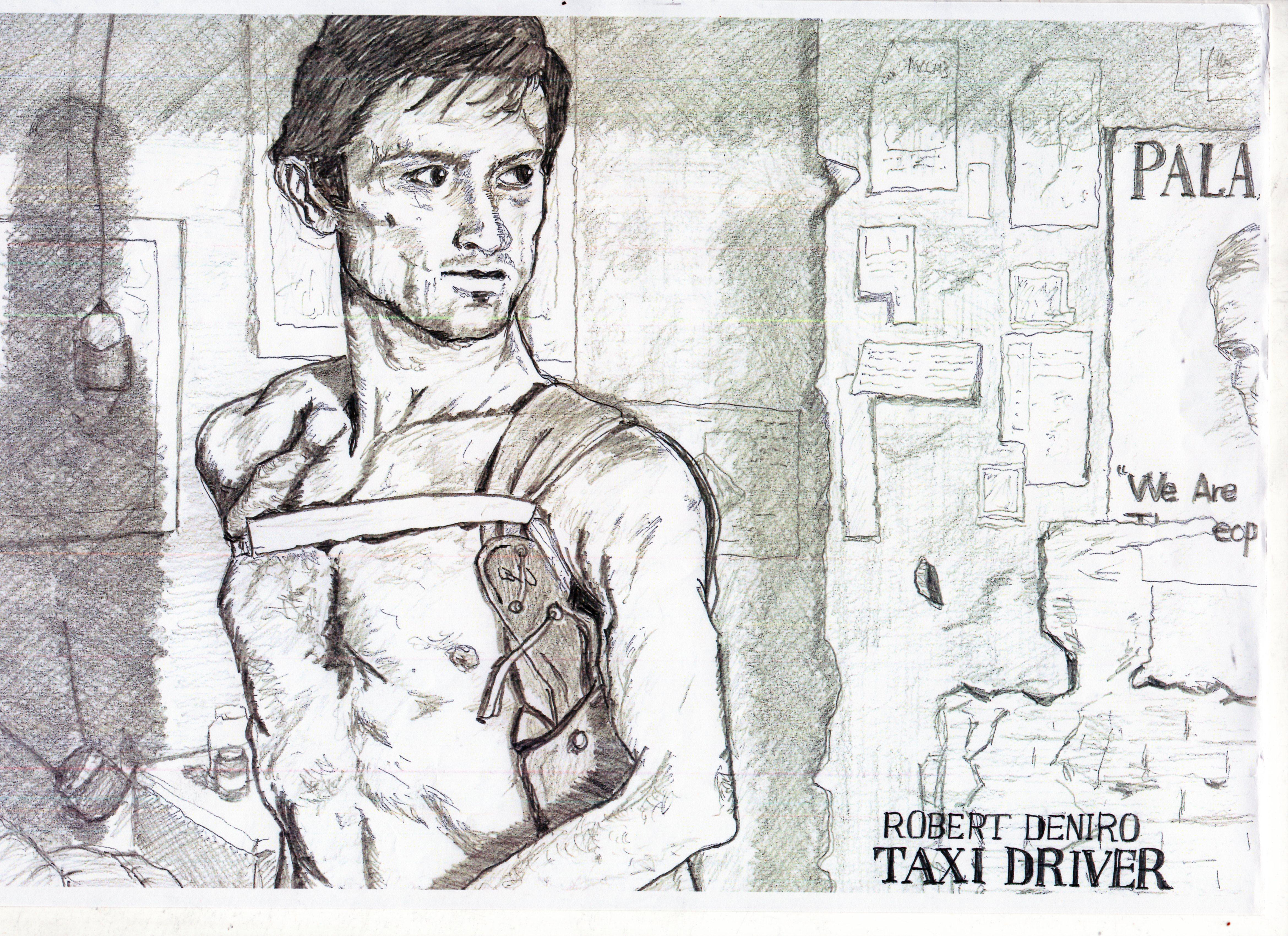 タクシードライバー』 ロバート・デニーロ鉛筆画似顔絵