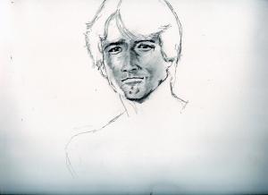 草刈正雄の鉛筆画似顔絵途中経過