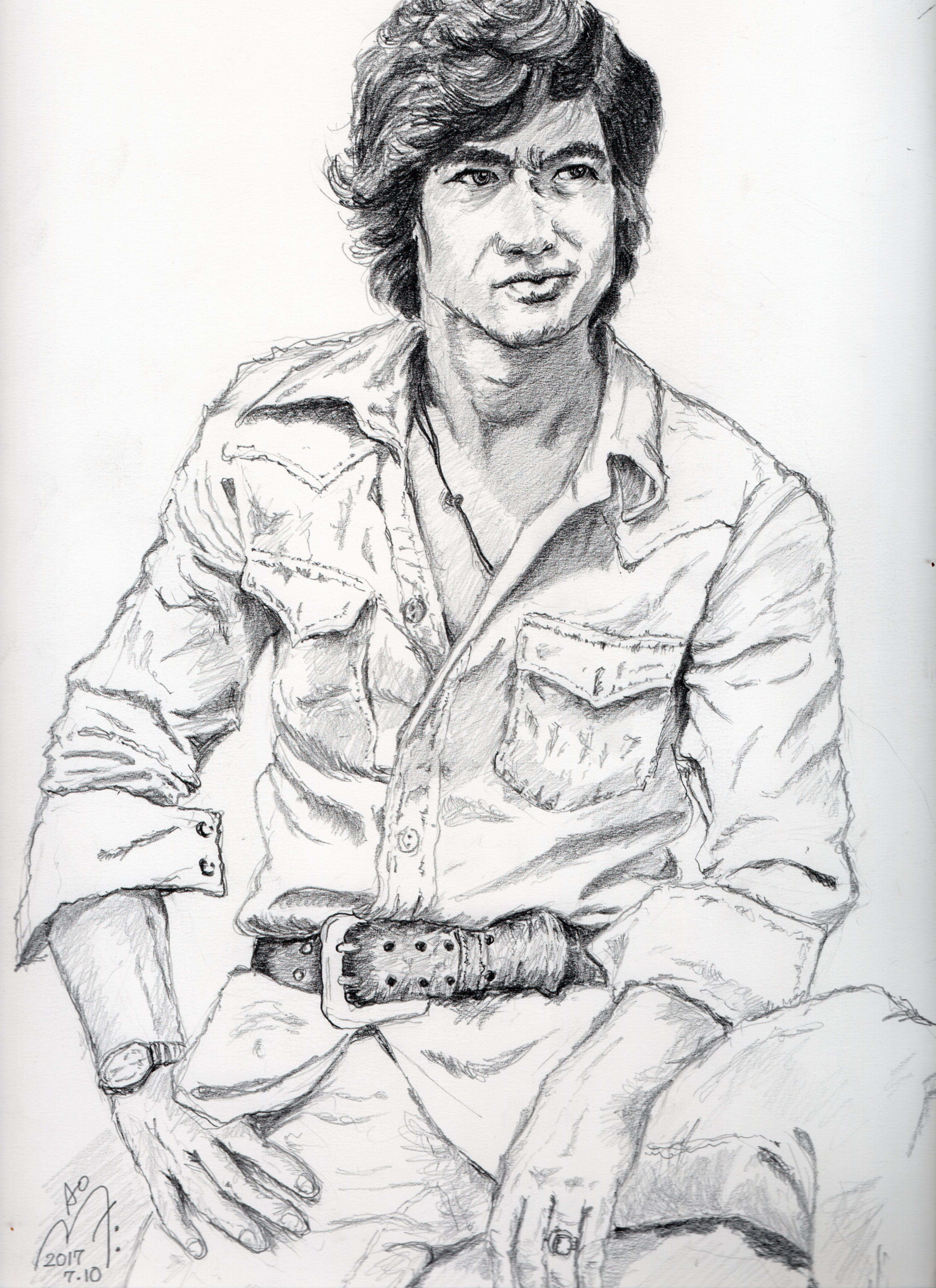 藤岡弘の鉛筆画似顔絵