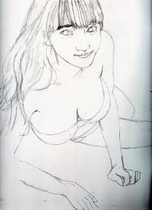 都丸紗也華の鉛筆画似顔絵途中経過