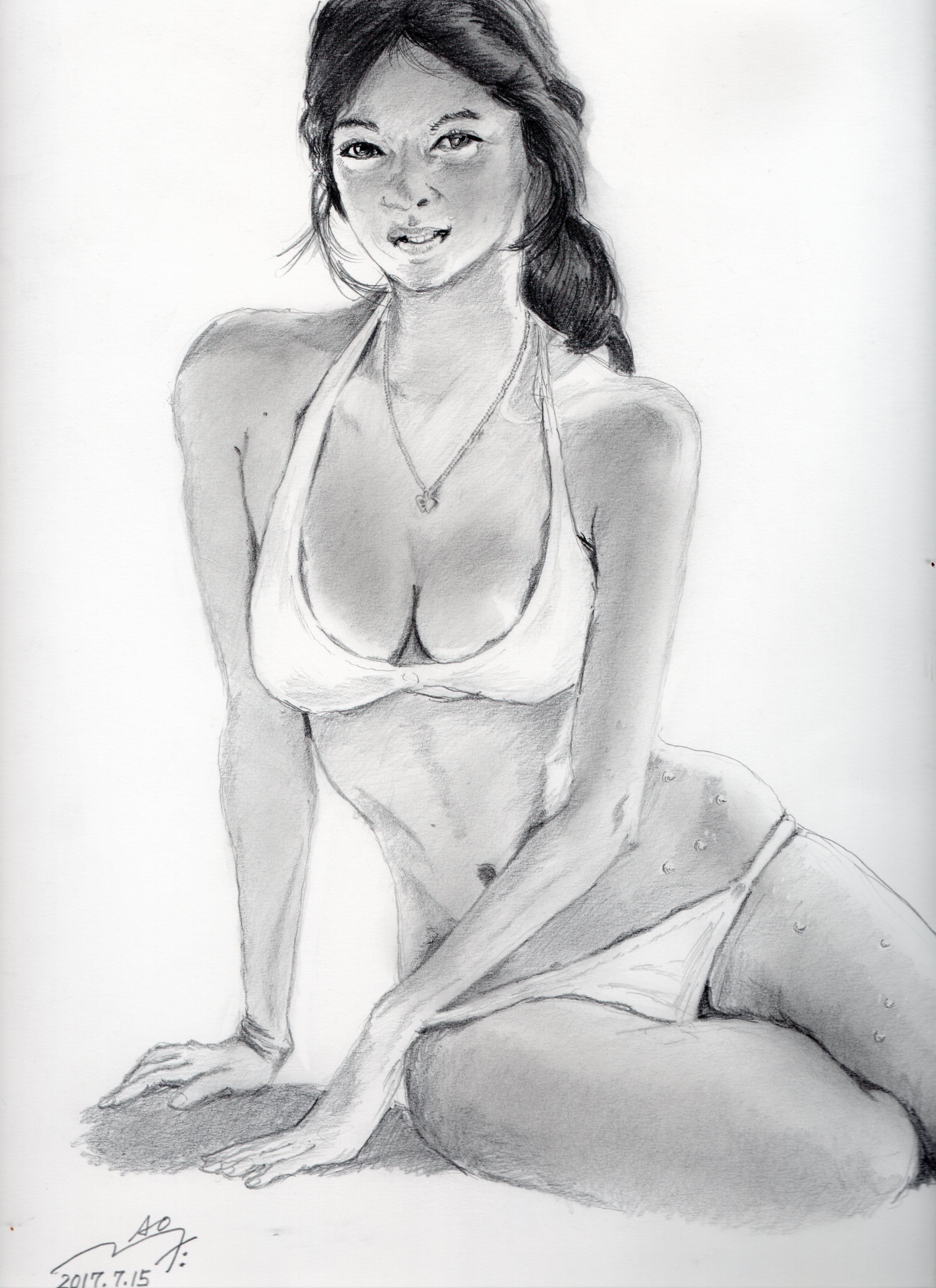 アグネス・ラムの鉛筆画似顔絵途中