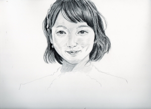 吉岡里帆の鉛筆画似顔絵途中経過