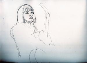 藤圭子さん鉛筆画似顔絵途中経過