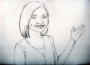 岩手のアイドルふじポンこと藤井 香子の鉛筆画似顔絵途中経過