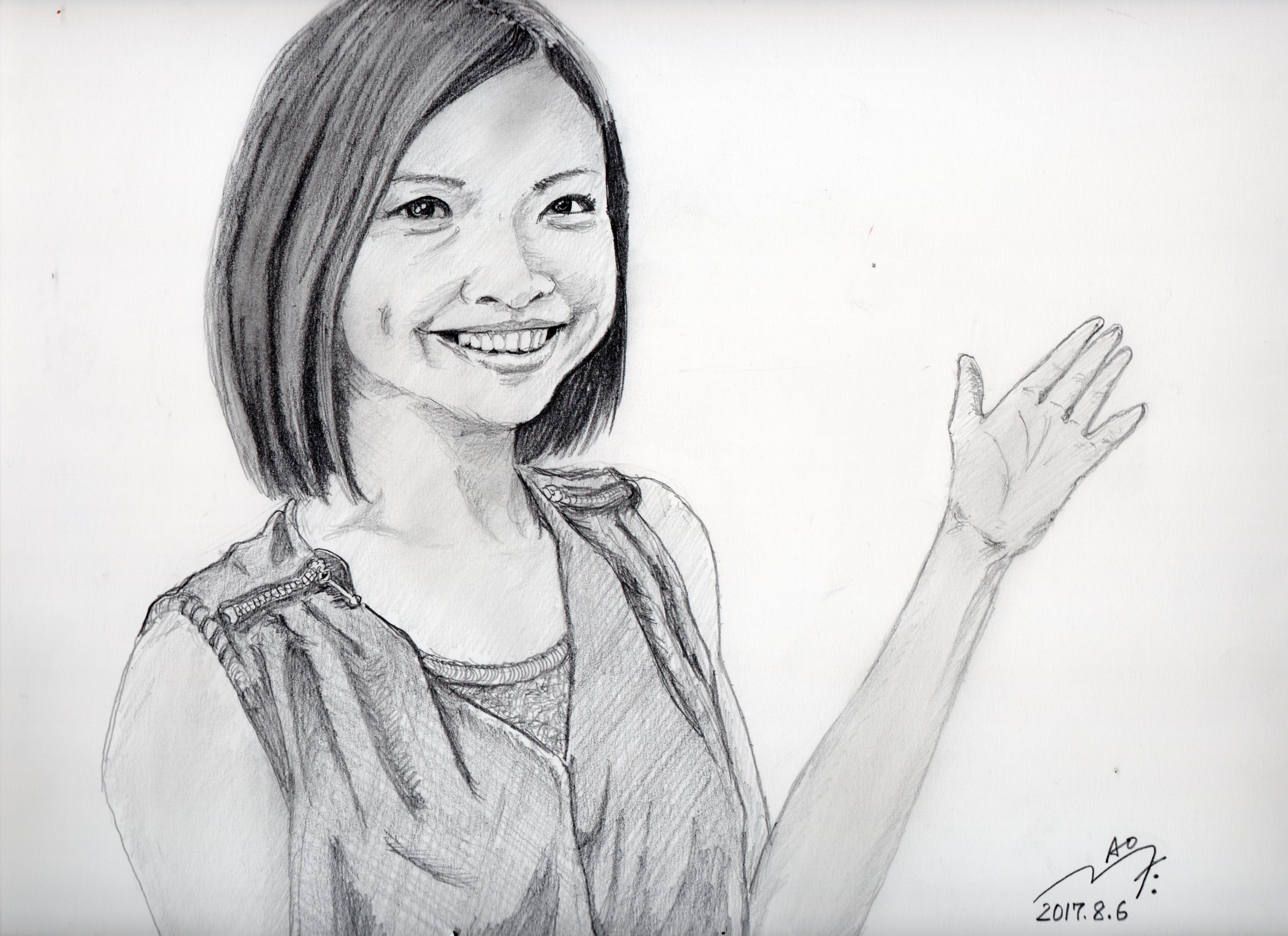 岩手のアイドルふじポンこと藤井 香子の鉛筆画似顔絵