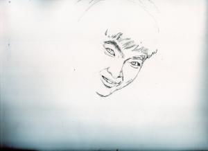 石原裕次郎さんの鉛筆画似顔絵途中経過