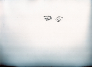 石原裕次郎さんと私の母鉛筆画似顔絵途中経過