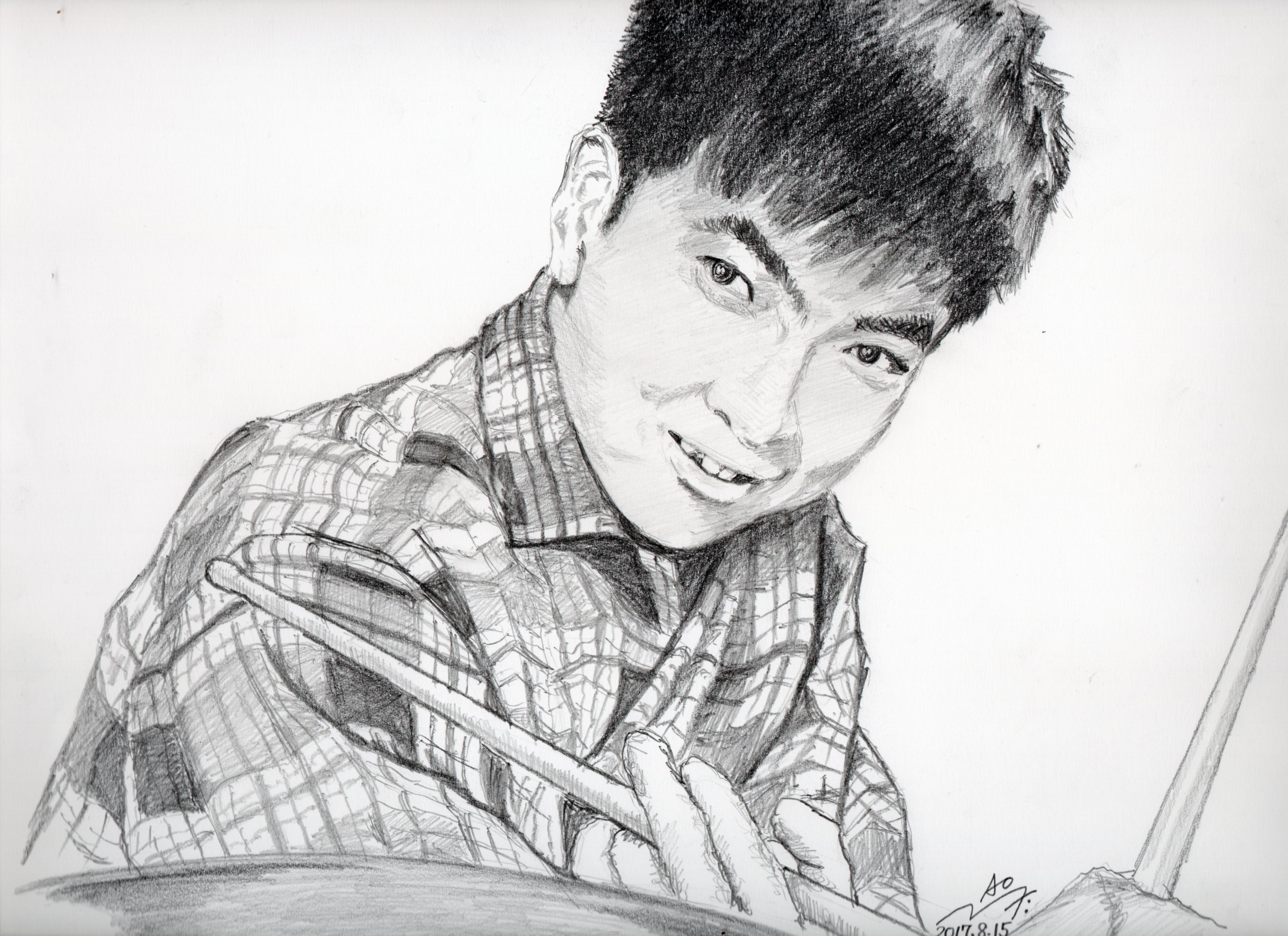 石原裕次郎さんの鉛筆画似顔絵