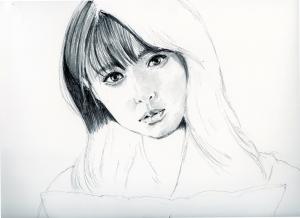 深田恭子の鉛筆画似顔絵途中経過