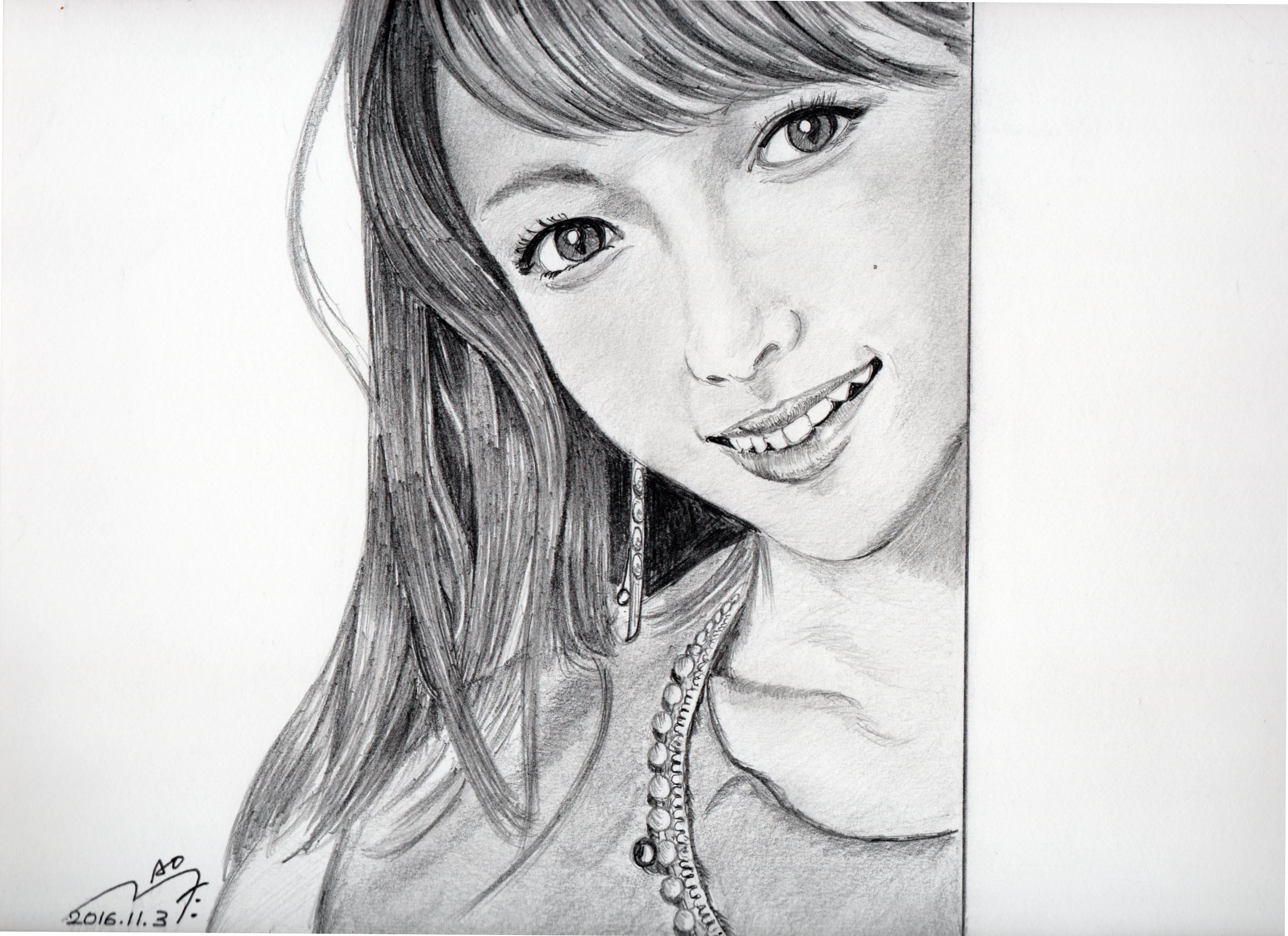深田恭子の鉛筆画似顔絵