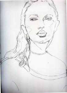 テイラースウィフトの鉛筆画似顔絵途中経過