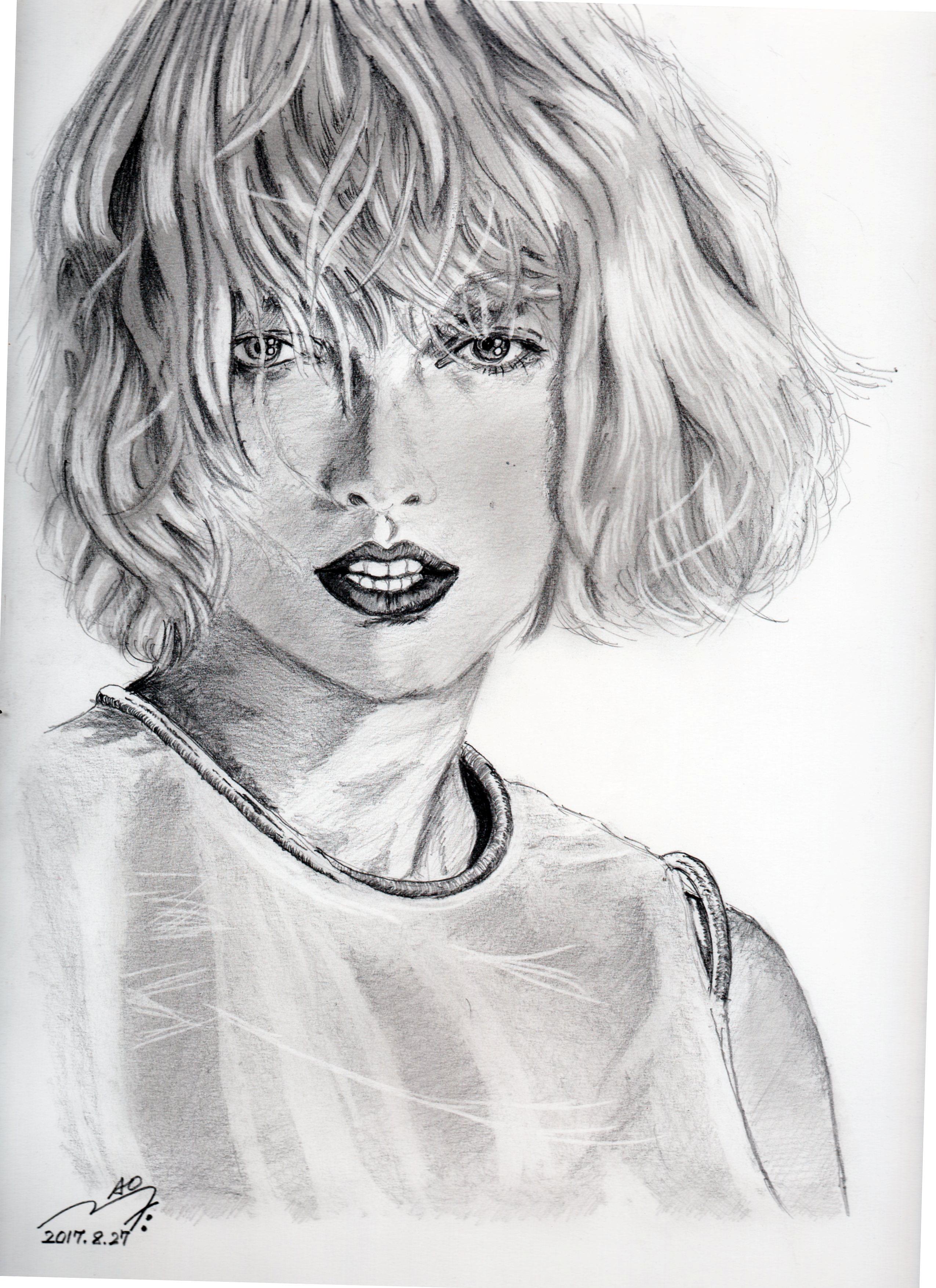テイラースウィフトの鉛筆画似顔絵