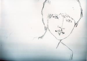 山崎賢人の鉛筆画似顔絵途中経過