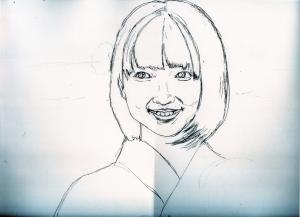 広瀬すずの鉛筆画似顔絵途中経過