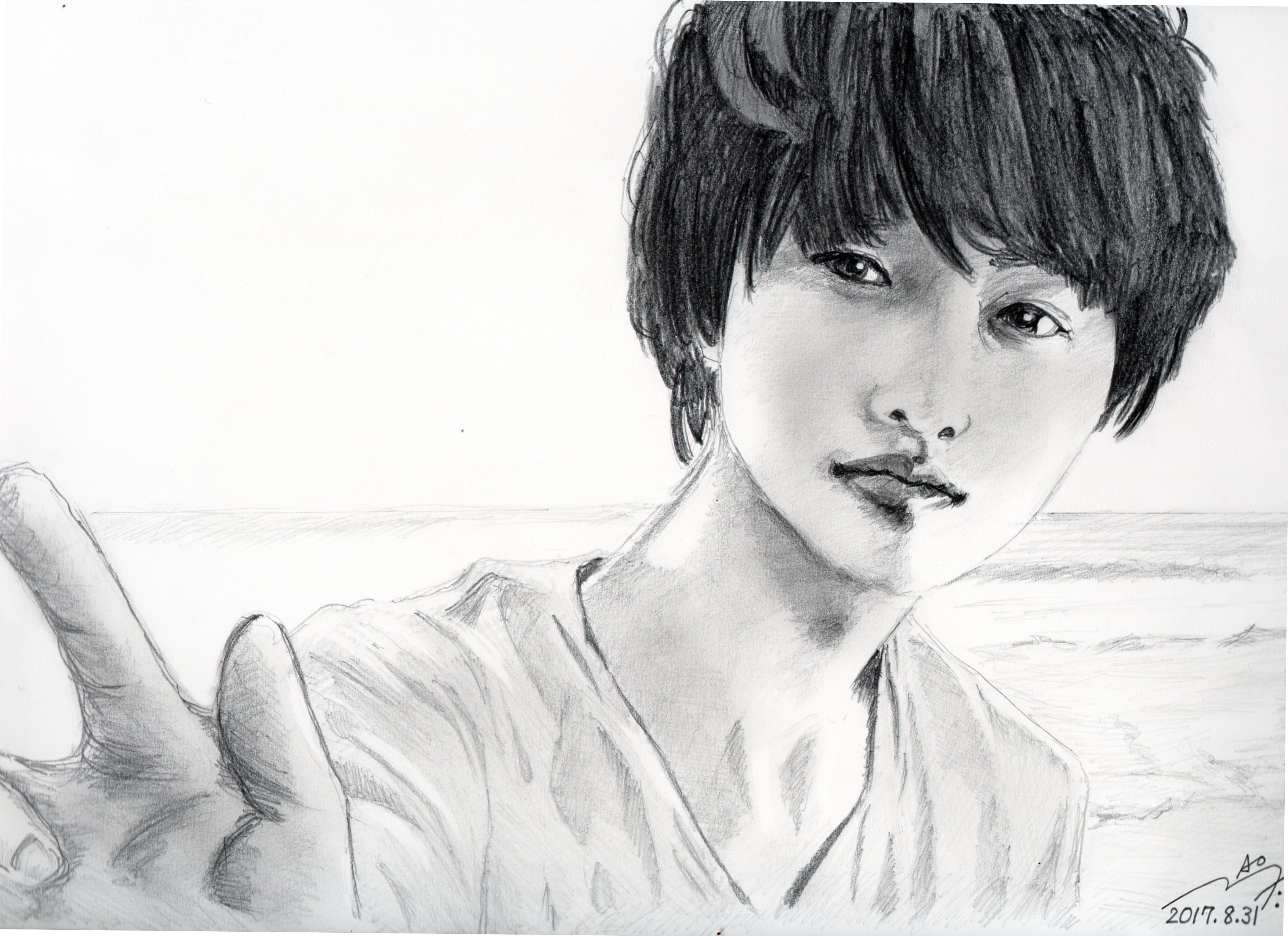 山崎賢人の鉛筆画似顔絵