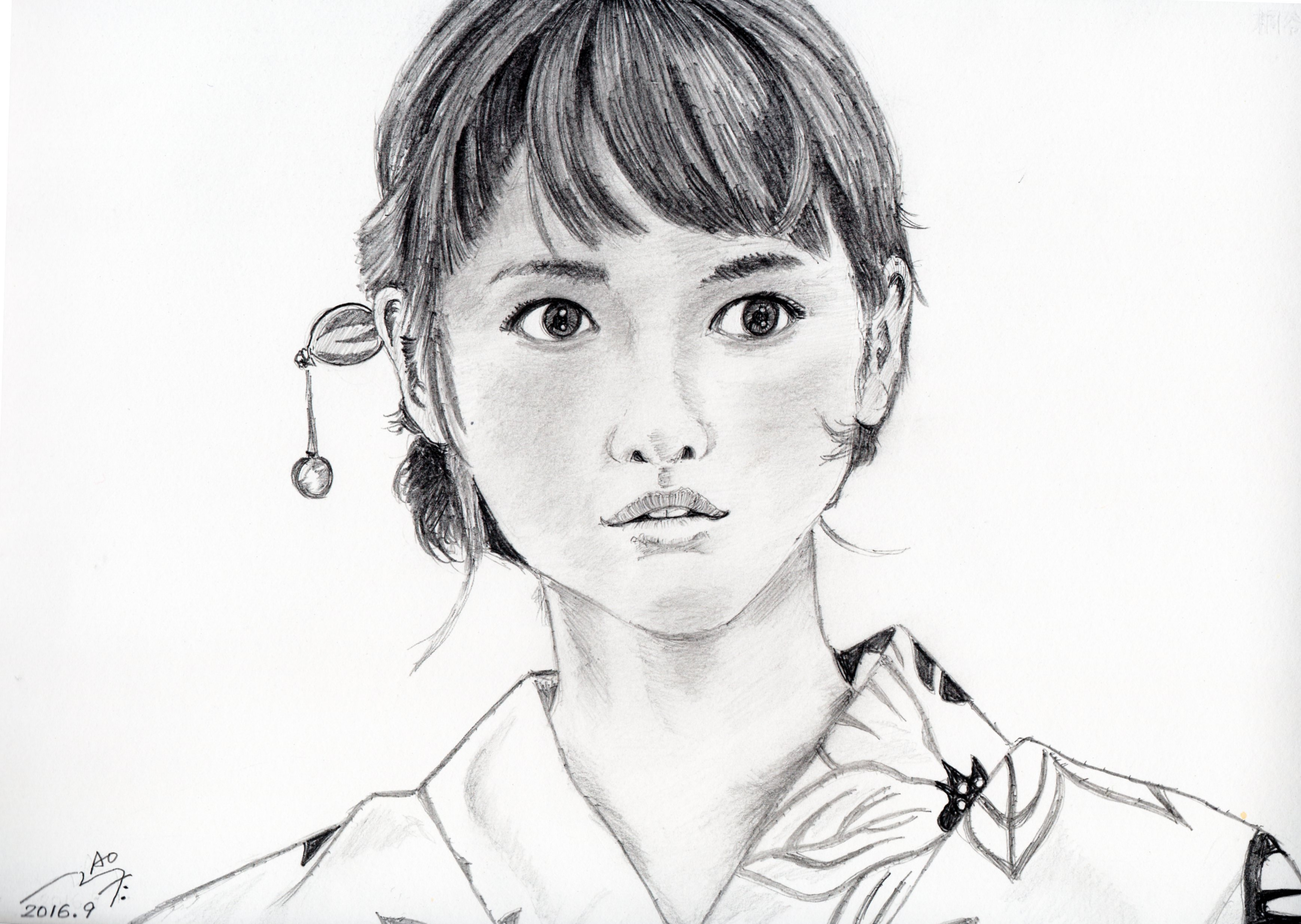 桐谷美玲の浴衣姿鉛筆画似顔絵