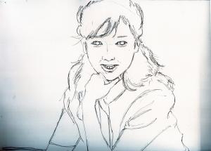 夏目雅子さんの鉛筆画似顔絵途中経過