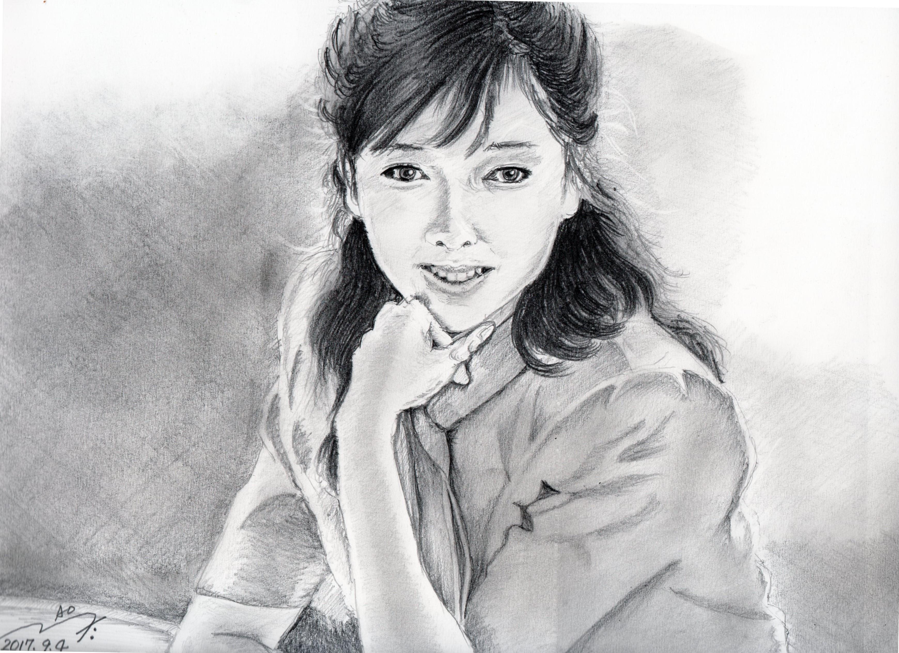 夏目雅子さんの鉛筆画似顔絵