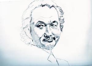 リリーフランキーの鉛筆画似顔絵途中経過