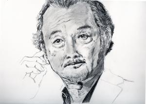 吉田鋼太郎の鉛筆画似顔絵途中経過