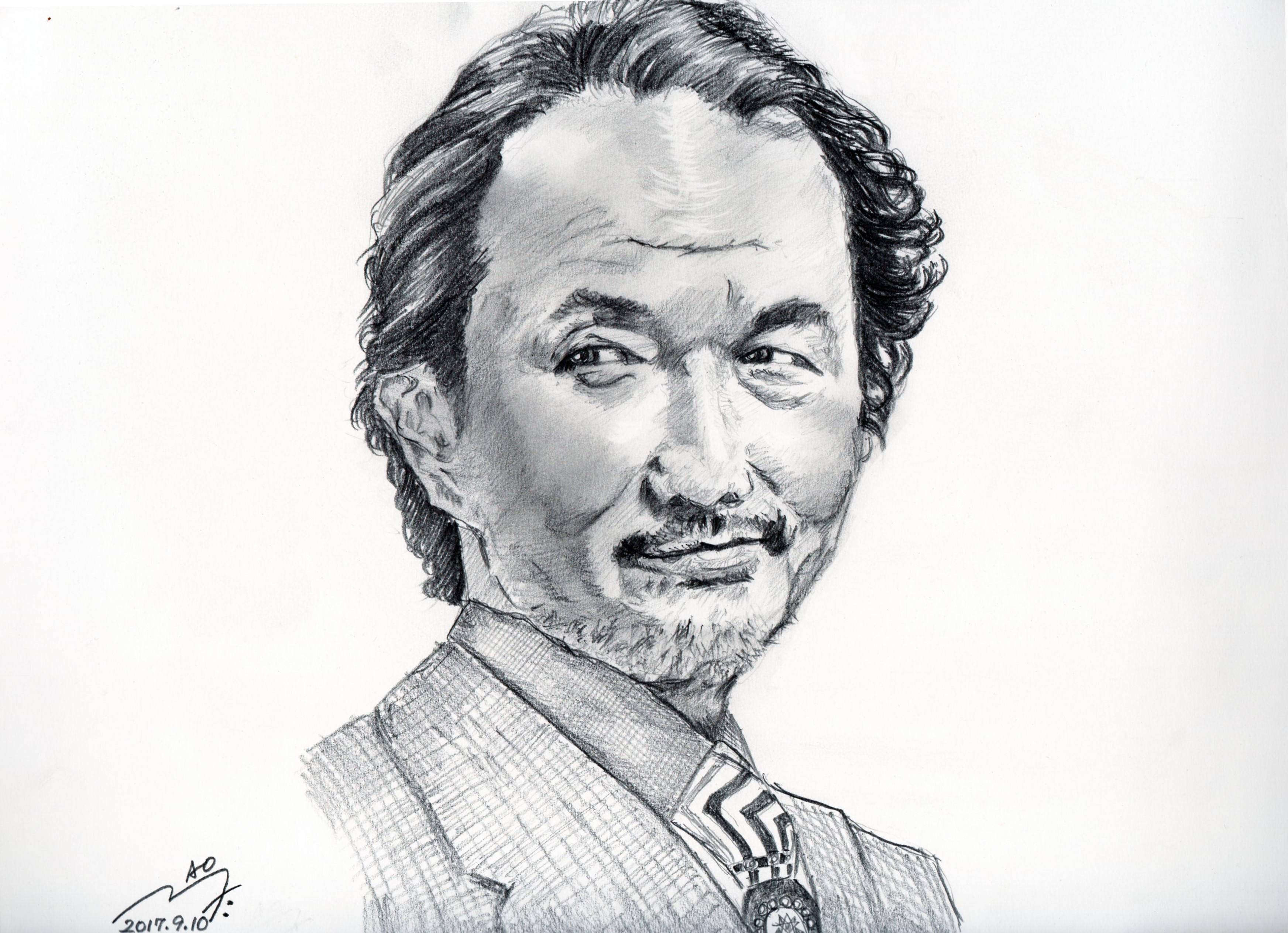 リリーフランキーの鉛筆画似顔絵