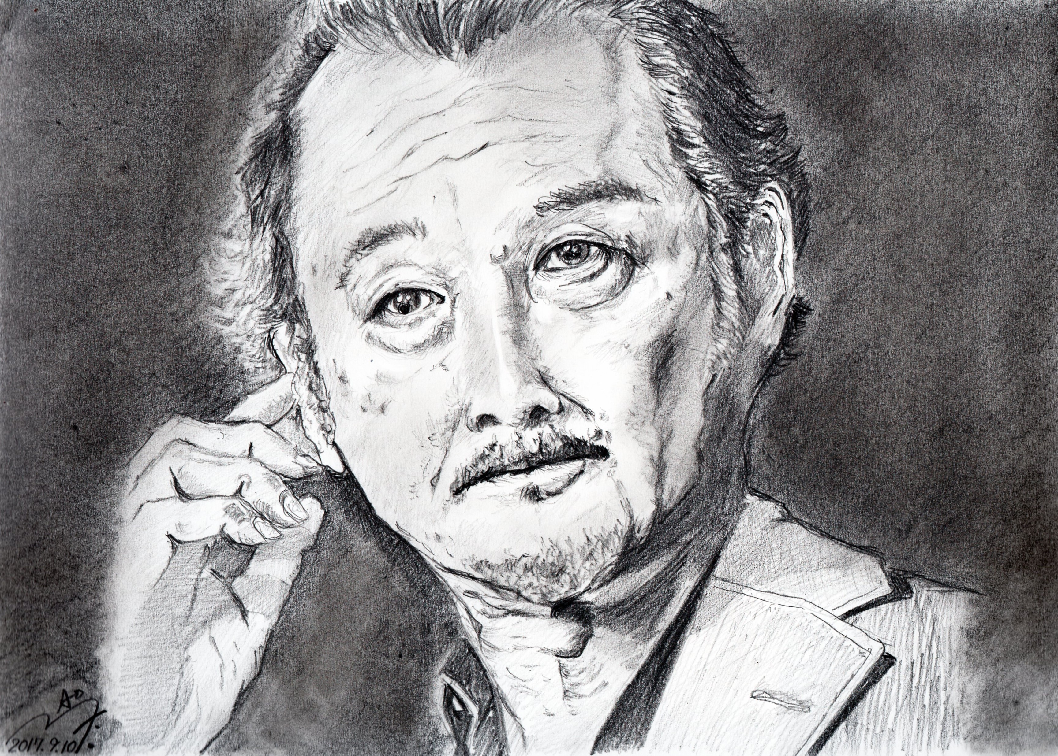 吉田鋼太郎の鉛筆画似顔絵
