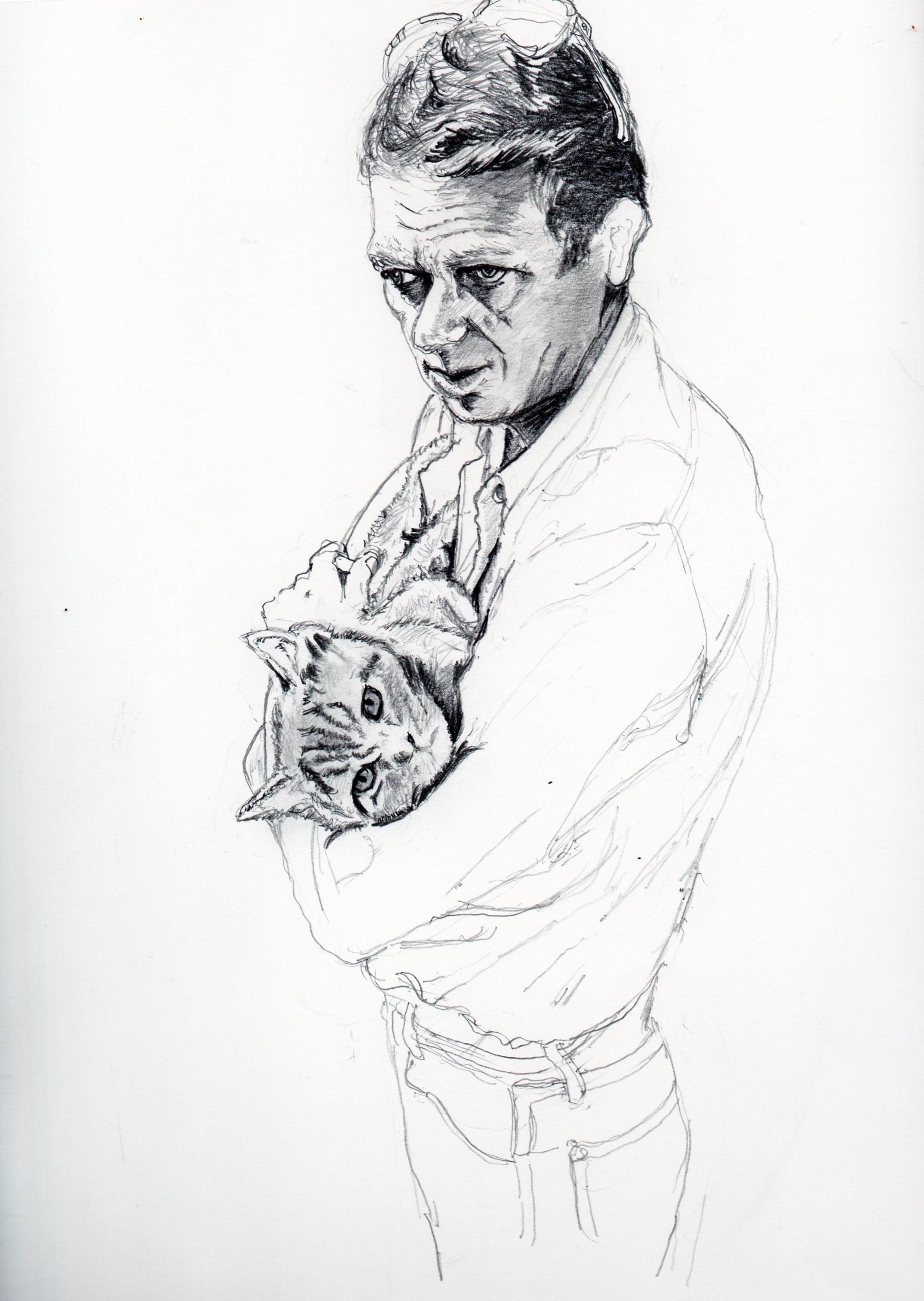 スティーブ・マックイーンと愛猫の鉛筆画似顔絵、途中経過です<br /> border=