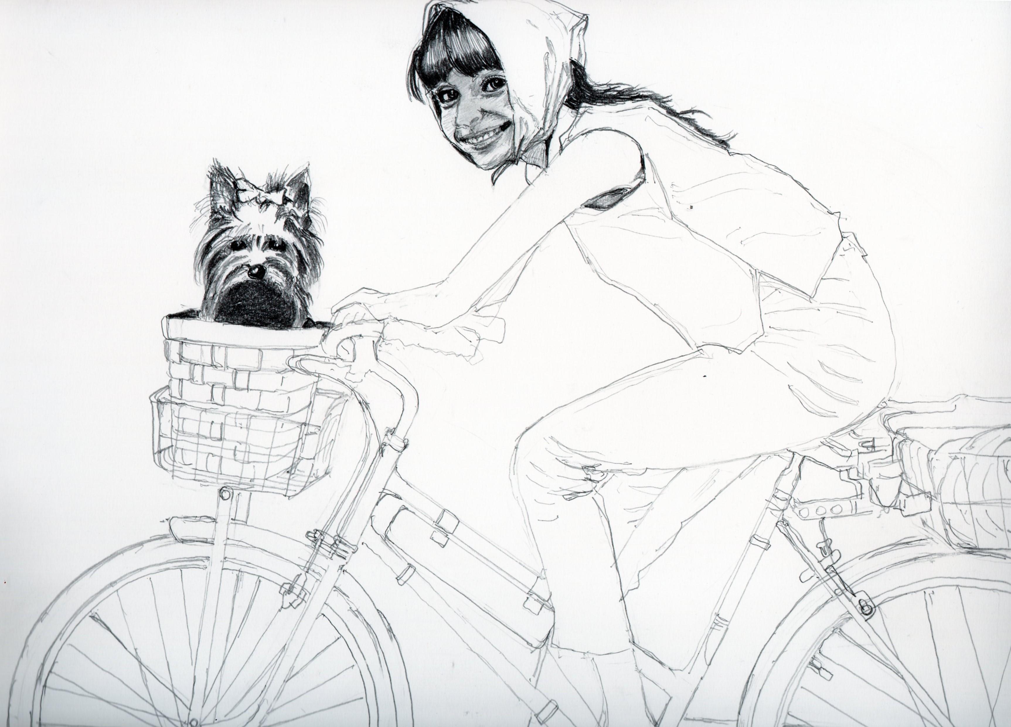 オードリー・ヘプバーンと愛犬の鉛筆画似顔絵、途中経過です