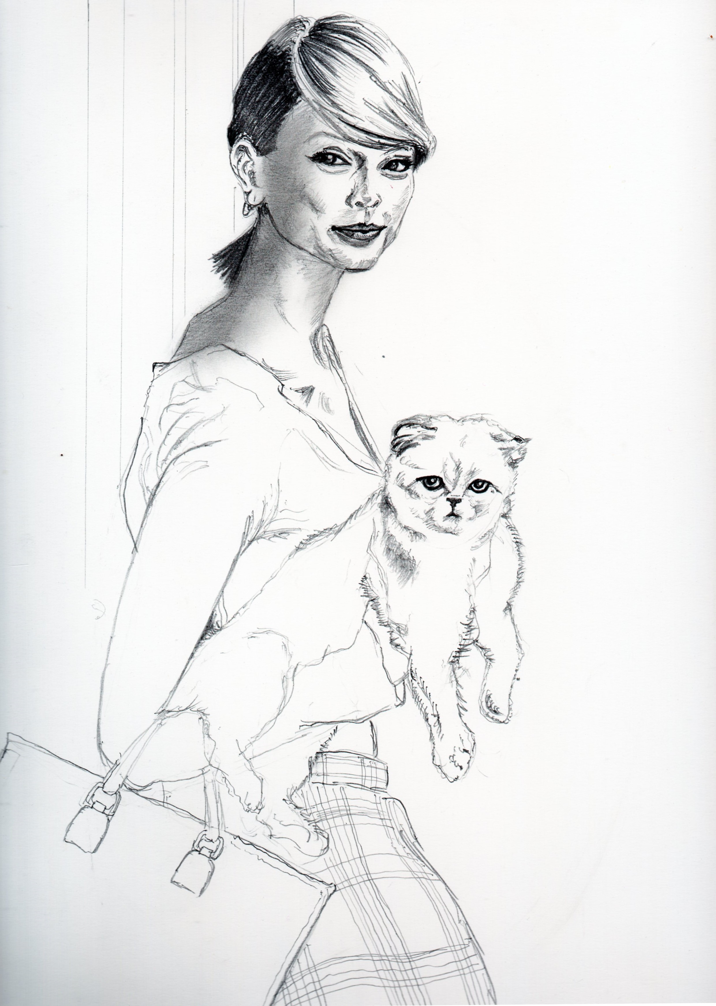 テイラースウィフトと愛猫の鉛筆画似顔絵、途中経過です