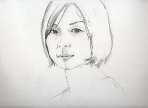 平岩紙の鉛筆画似顔絵途中経過