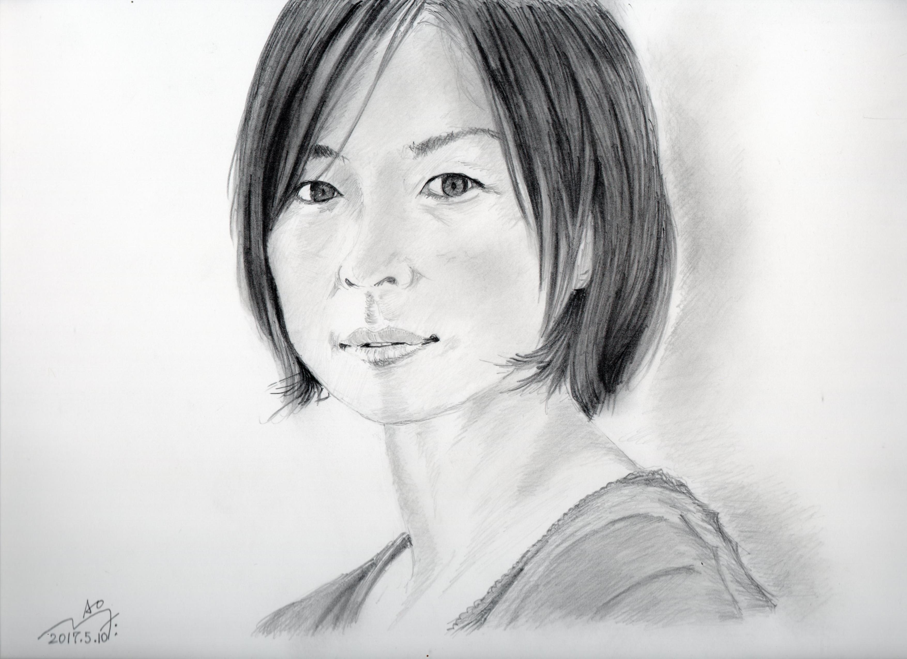 平岩紙の鉛筆画似顔絵