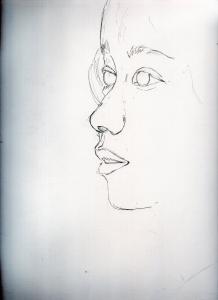 二階堂ふみの鉛筆画似顔絵途中経過
