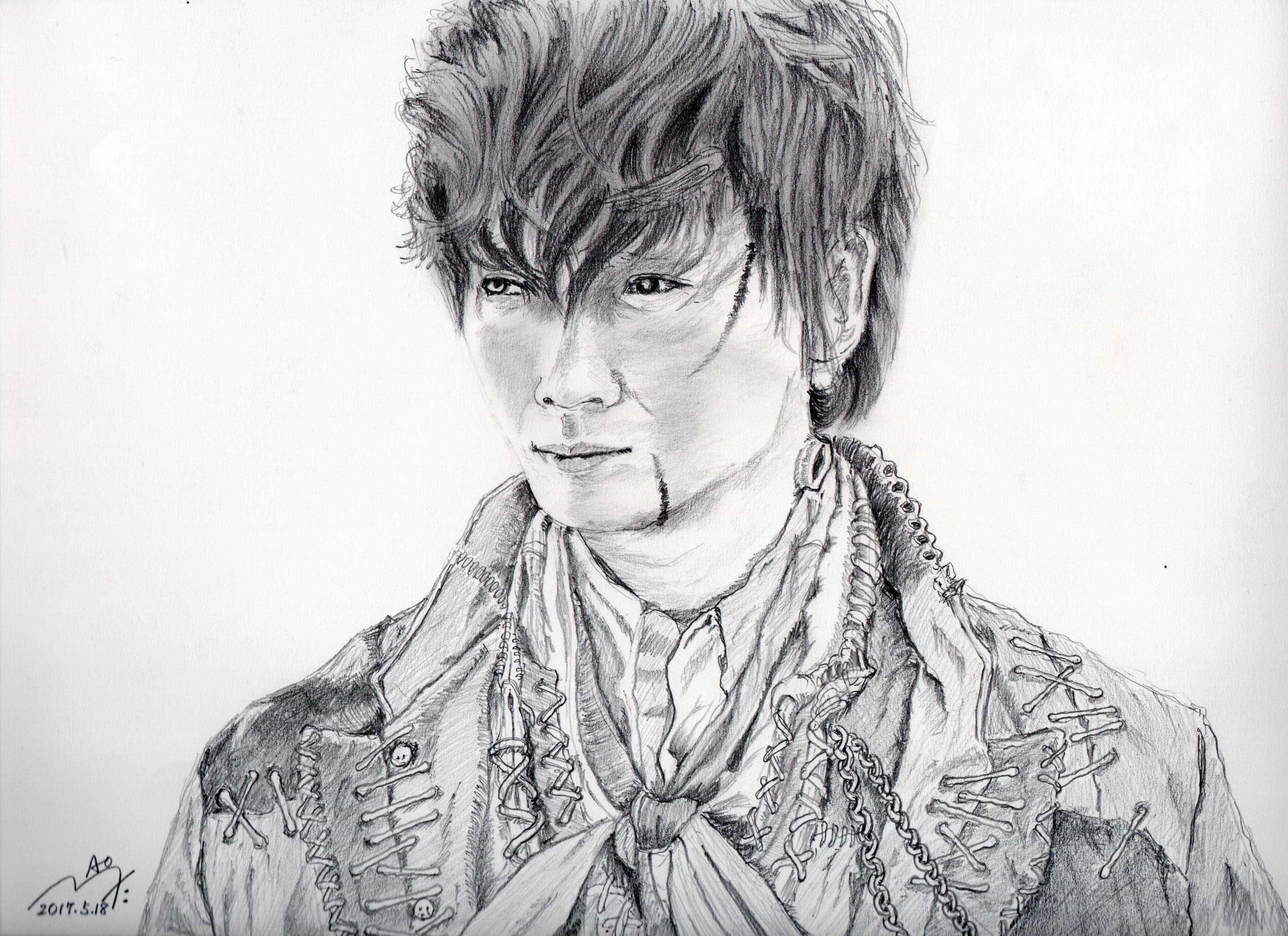綾野剛の鉛筆画似顔絵