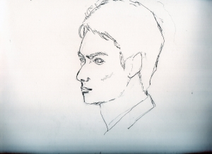 岡田将生の鉛筆画似顔絵途中経過