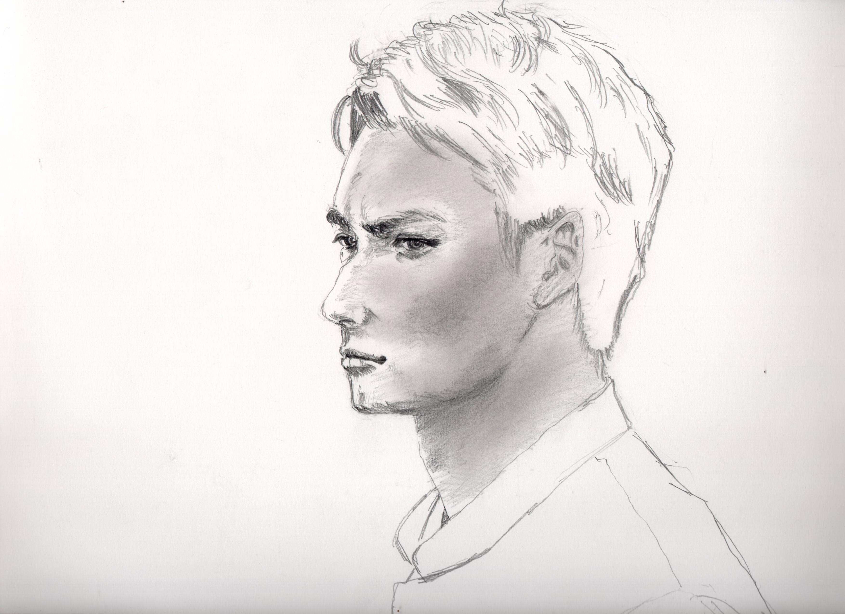 岡田 将生の鉛筆画似顔絵途中経過