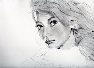 ローラの鉛筆画似顔絵途中経過